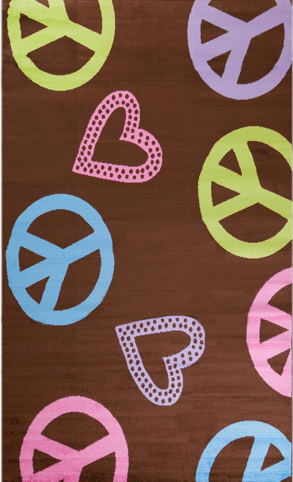 Concord Global Alisa PEACE AND POLKA HEARTS BROWN Rug