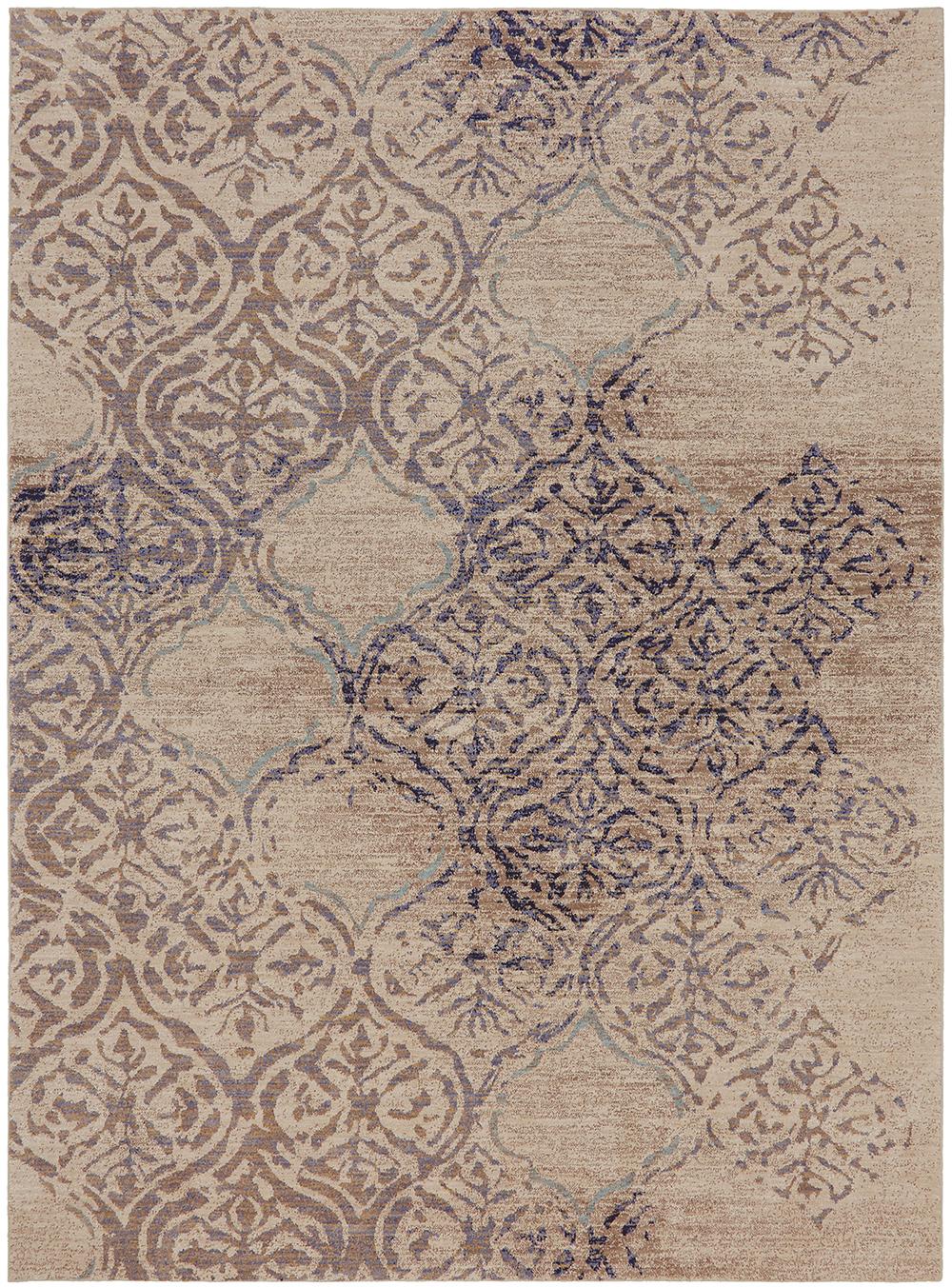 Karastan Cosmopolitan Zendaya Indigo by Virginia Langley Antique White Rug