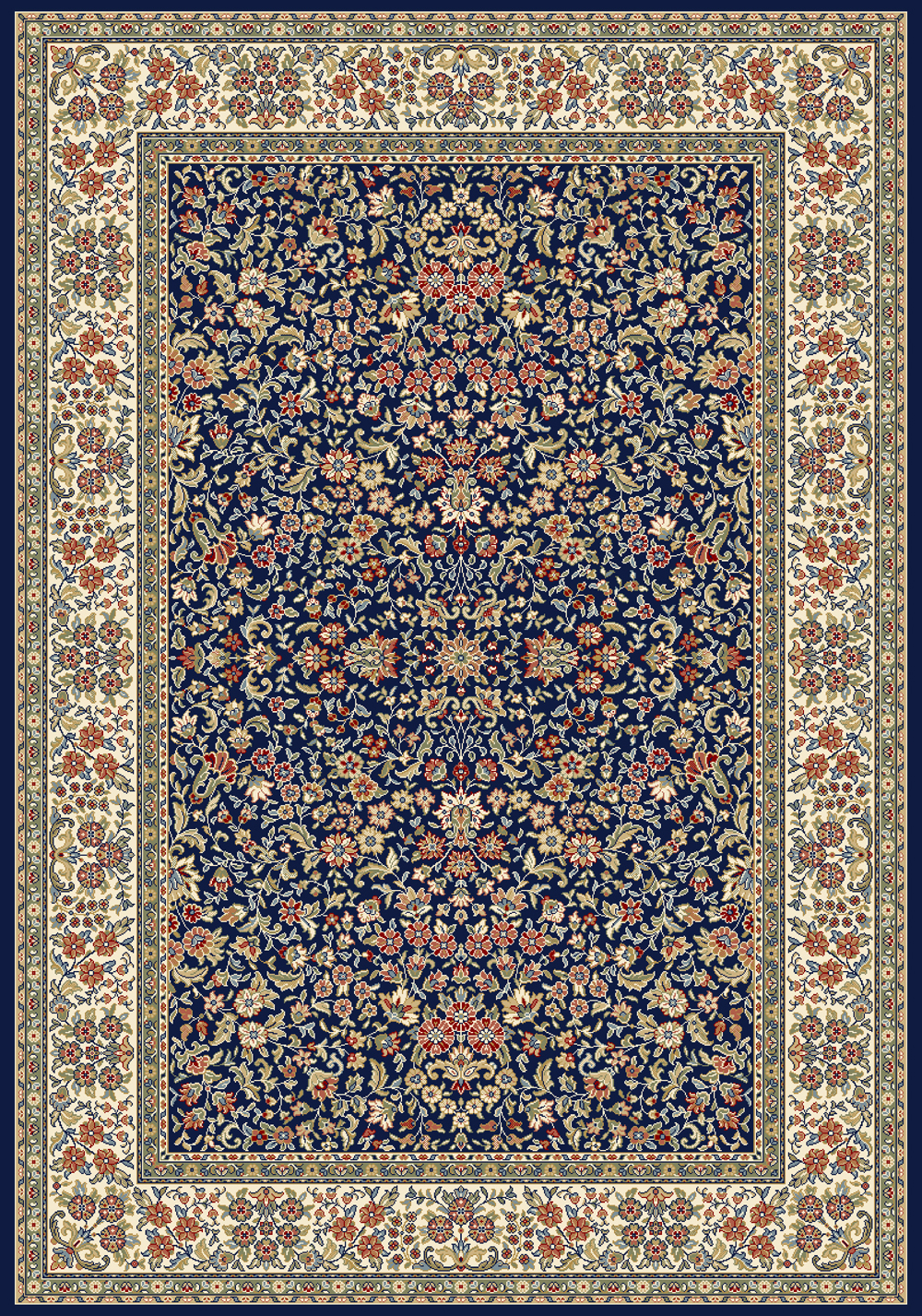 Dynamic ANCIENT GARDEN 57078 BLUE/IVORY Rug