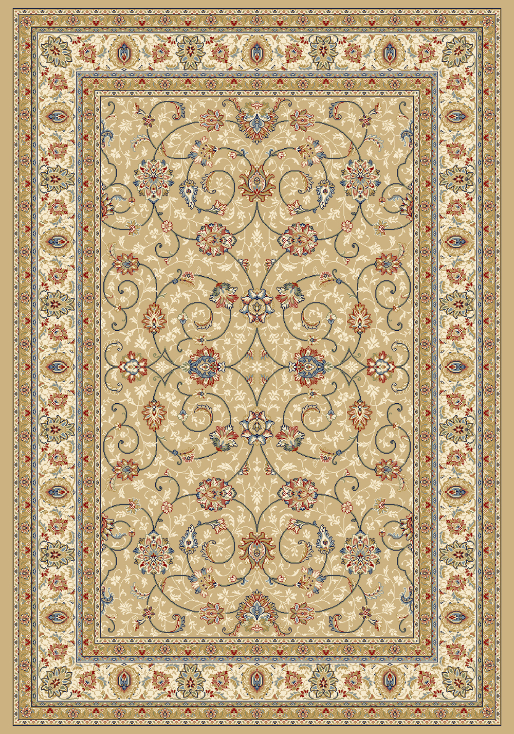 Dynamic ANCIENT GARDEN 57120 LT GOLD/IVORY Rug