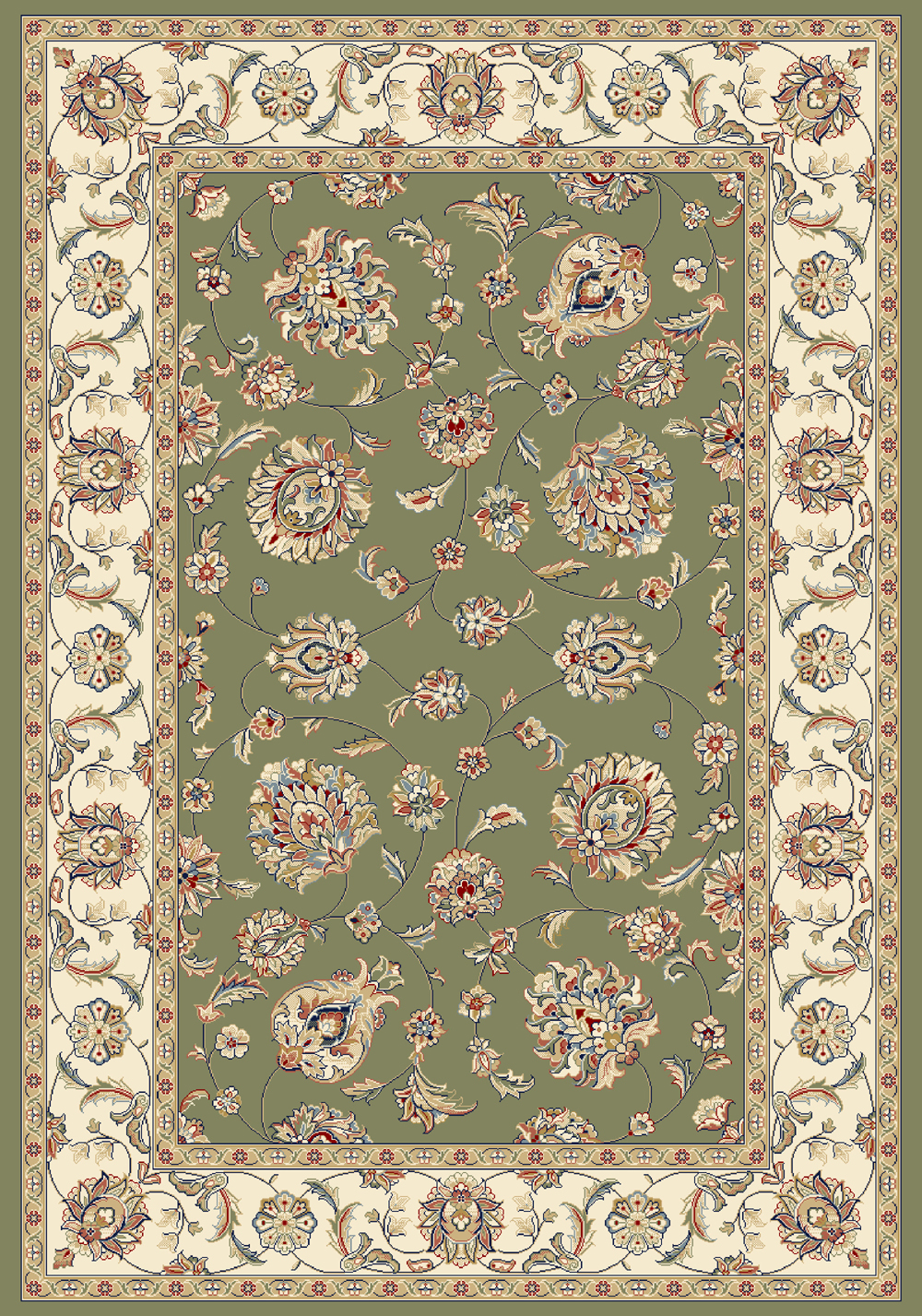 Dynamic ANCIENT GARDEN 57365 GREEN/IVORY Rug