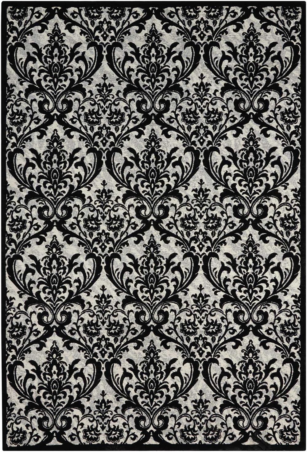 Nourison DAMASK DAS02 BLACK/WHITE Rug