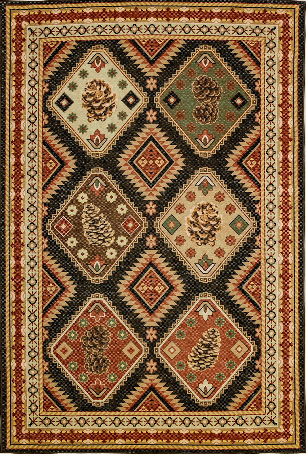 Dynamic FRONTIER 5218 BURGUNDY/MULTI Rug