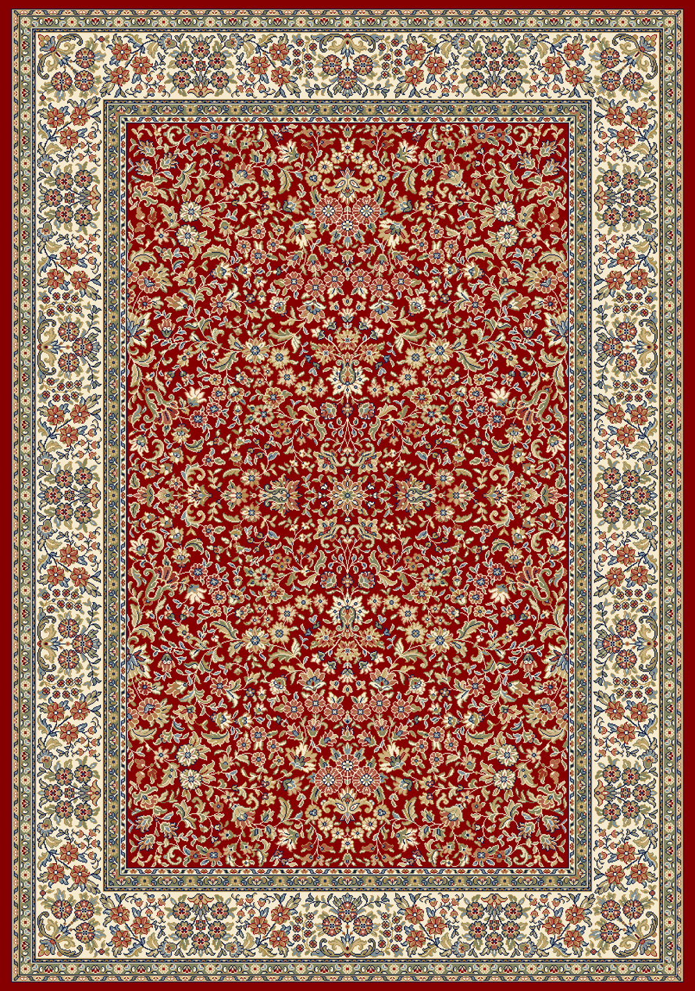 Dynamic ANCIENT GARDEN 57078 RED/IVORY Rug