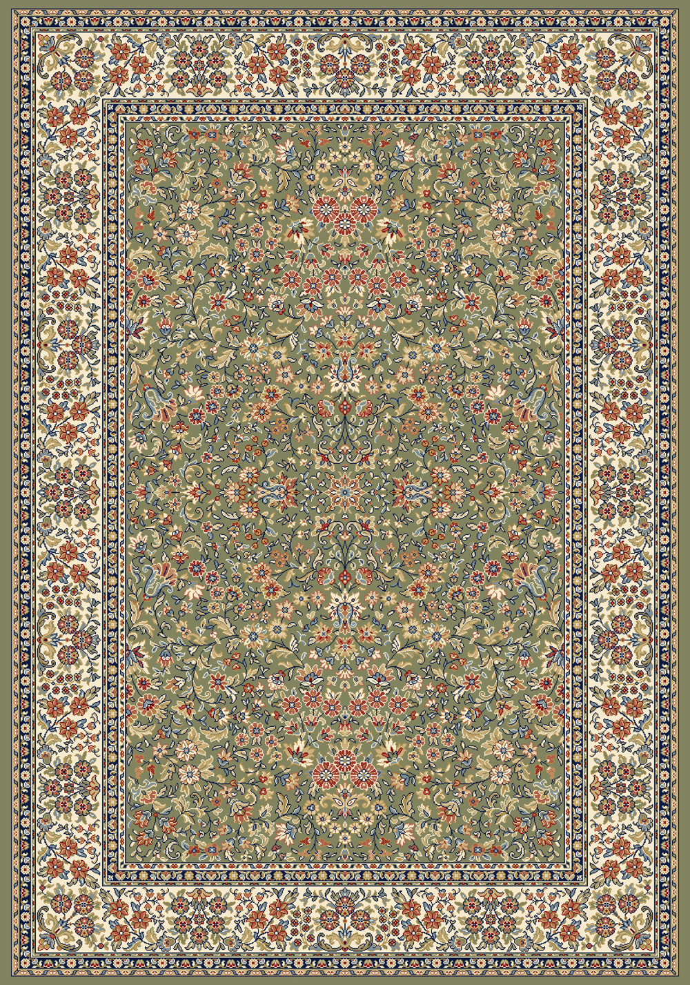 Dynamic ANCIENT GARDEN 57078 GREEN/IVORY Rug