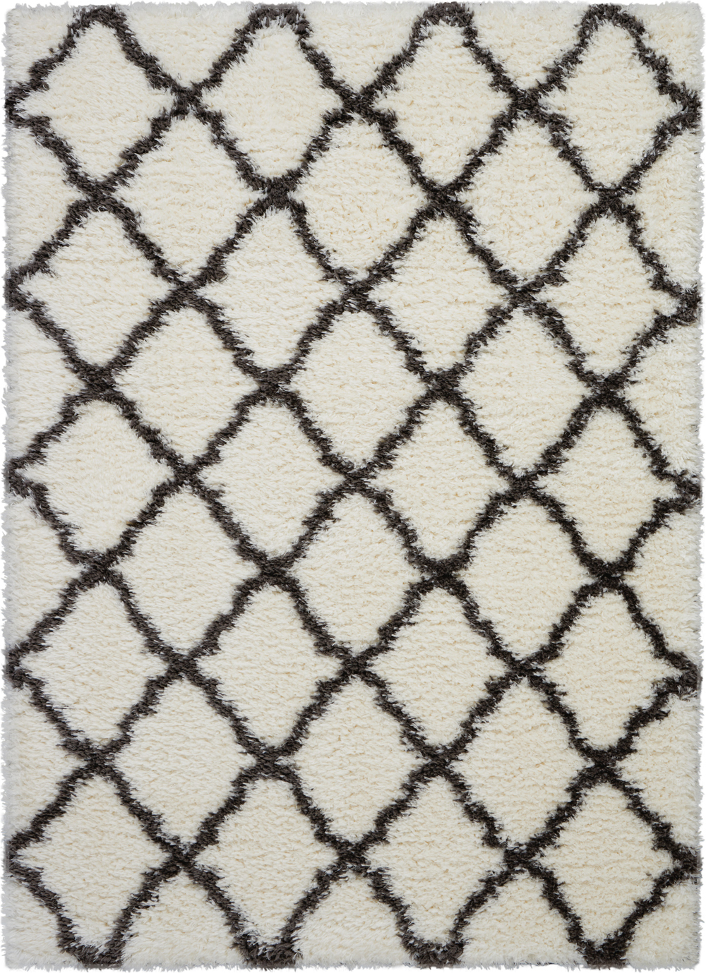 Nourison Luxe Shag LXS02 Ivory/Charcoal Rug