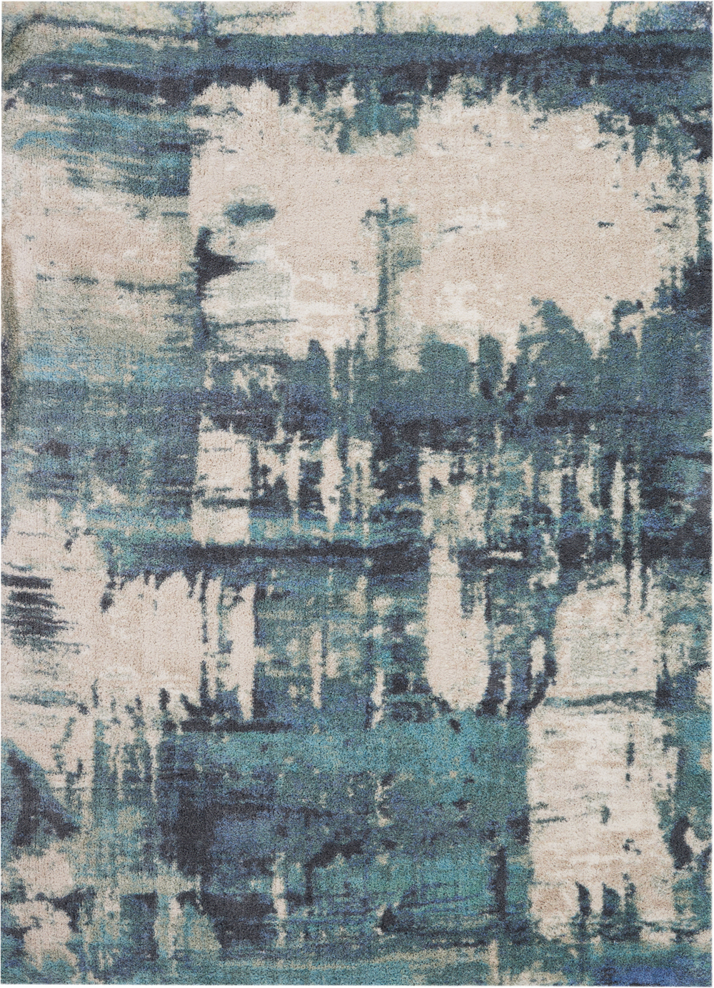 Nourison Abstract Shag ABS01 Blue Rug
