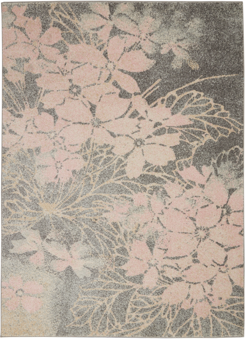 Nourison Tranquil TRA08 Grey/Pink Rug