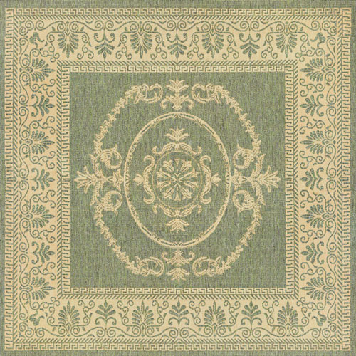 couristan recife antique medallion green/natural