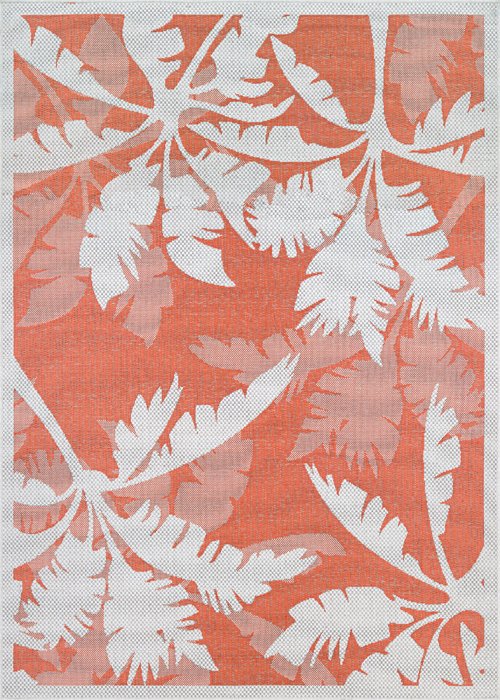 couristan monaco coastal floral ivory/orange