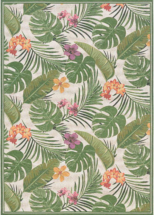 couristan dolce flowering fern ivory/hunter green