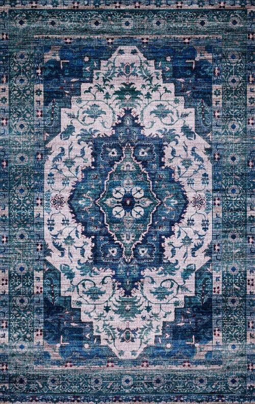 justina blakeney cielo cie-01 ivory / turquoise