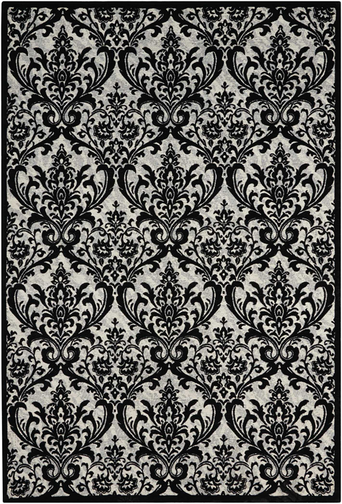 Nourison DAMASK DAS02 BLACK/WHITE