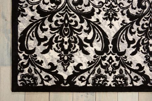 Nourison DAMASK DAS02 BLACK/WHITE Detail