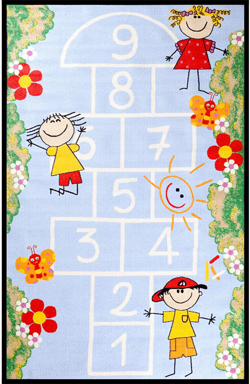 Concord Global Fun Time HOP SCOTCH BLUE Rug