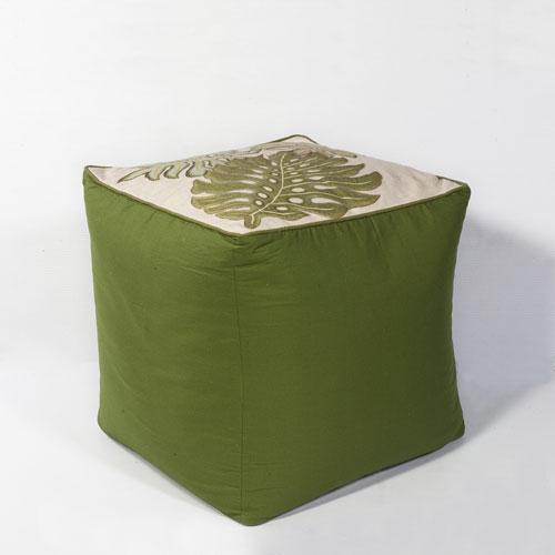 kas poufs f809 ivory/green pouf