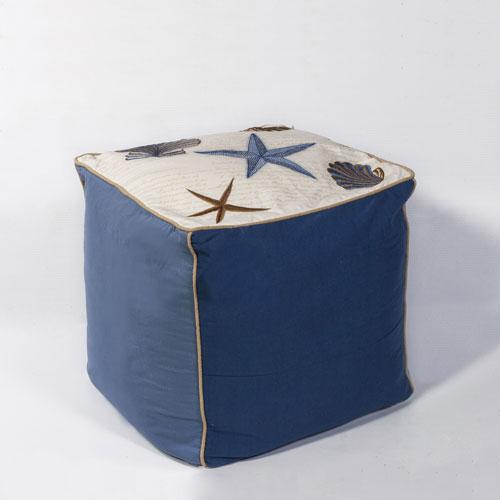 kas poufs f810 ivory/blue pouf