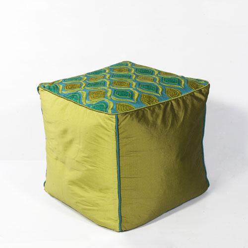 kas poufs f811 teal/green pouf