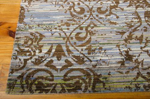 Nourison RHAPSODY RH009 BLUE/MOSS Detail