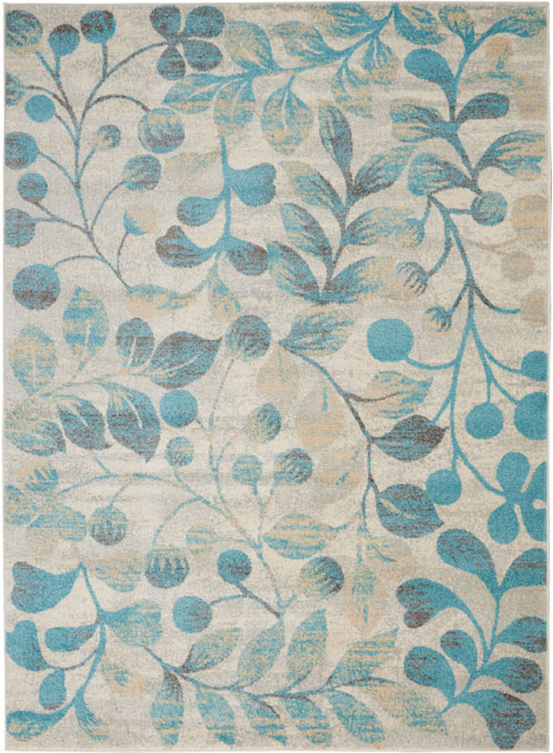 Nourison Tranquil TRA03 Ivory/Turquoise