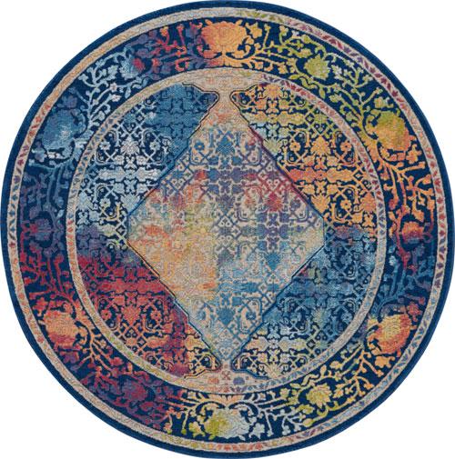 nourison global vintage glb04 blue/multicolor