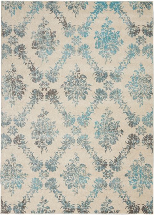 nourison tranquil tra09 ivory/turquoise