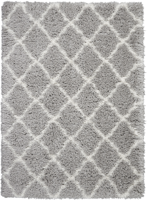 nourison luxe shag lxs02 grey/ivory