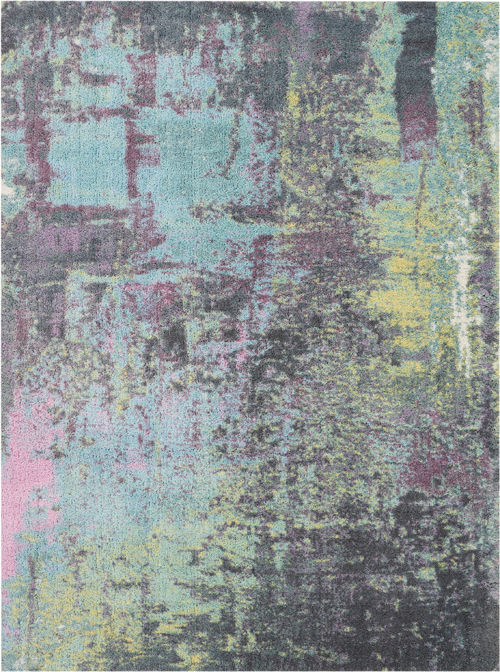 Nourison Abstract Shag ABS02 Teal Rug