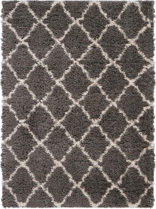Nourison Luxe Shag LXS02 Charcoal/Beige Rug