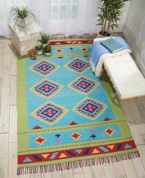 Nourison BAJA BAJ02 BLUE GREEN Room Scene