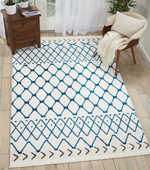 Nourison DWS05 KAMALA DS500 WHITE BLUE Room Scene