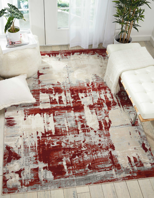 Nourison MAXELL MAE14 IVORY RED Room Scene