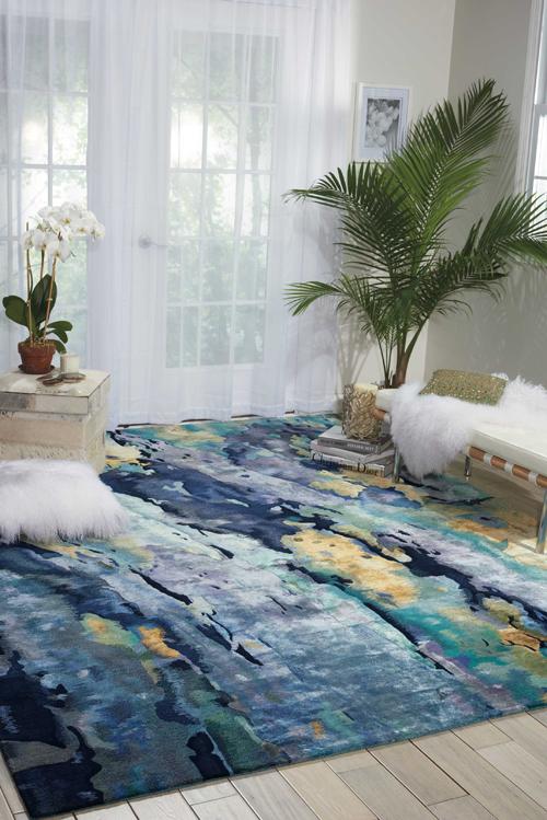 Nourison PRISMATIC PRS09 SILVER/BLUE Room Scene