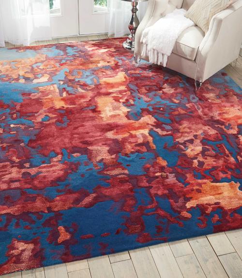Nourison PRISMATIC PRS13 BLUE FLAME Room Scene