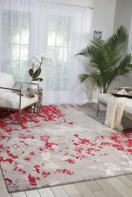 Nourison TWILIGHT TWI21 GRY/RED Room Scene