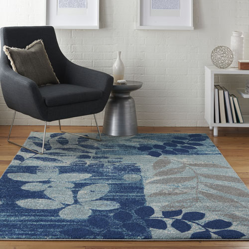 Nourison Tranquil TRA01 Navy/Light Blue Room Scene
