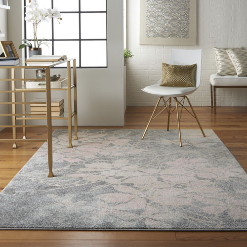 Nourison Tranquil TRA08 Grey/Pink Room Scene